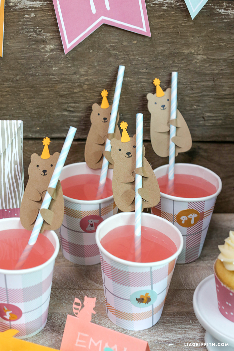 party drinks with paper bear huggers on straws