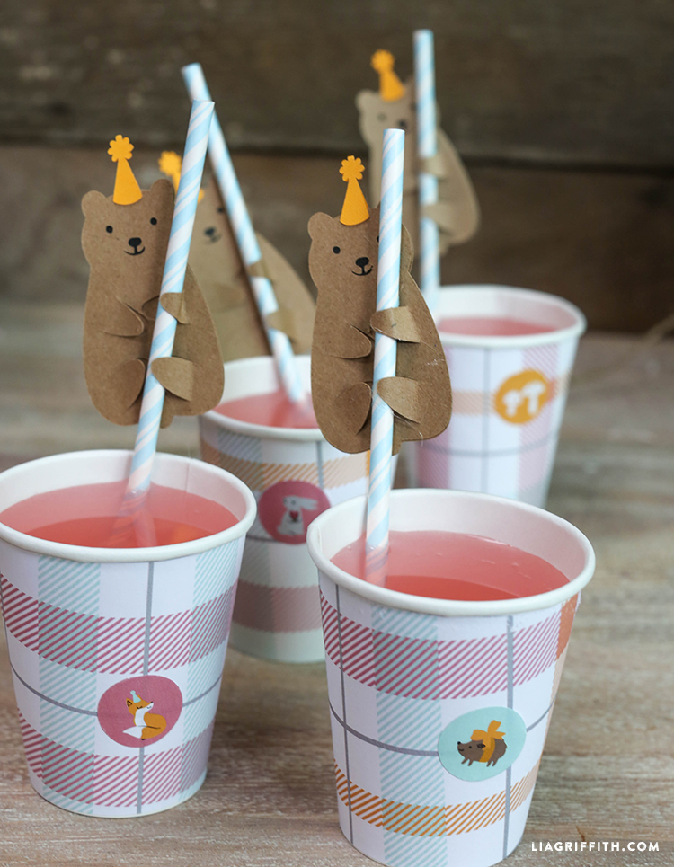 punch drinks with bear straw huggers