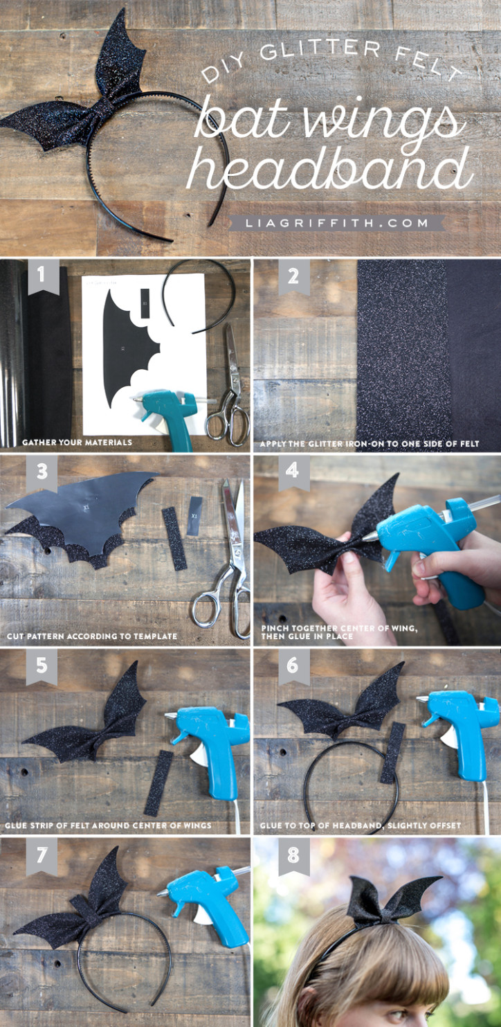 Photo tutorial for diy bat wings headband for Halloween by Lia Griffith