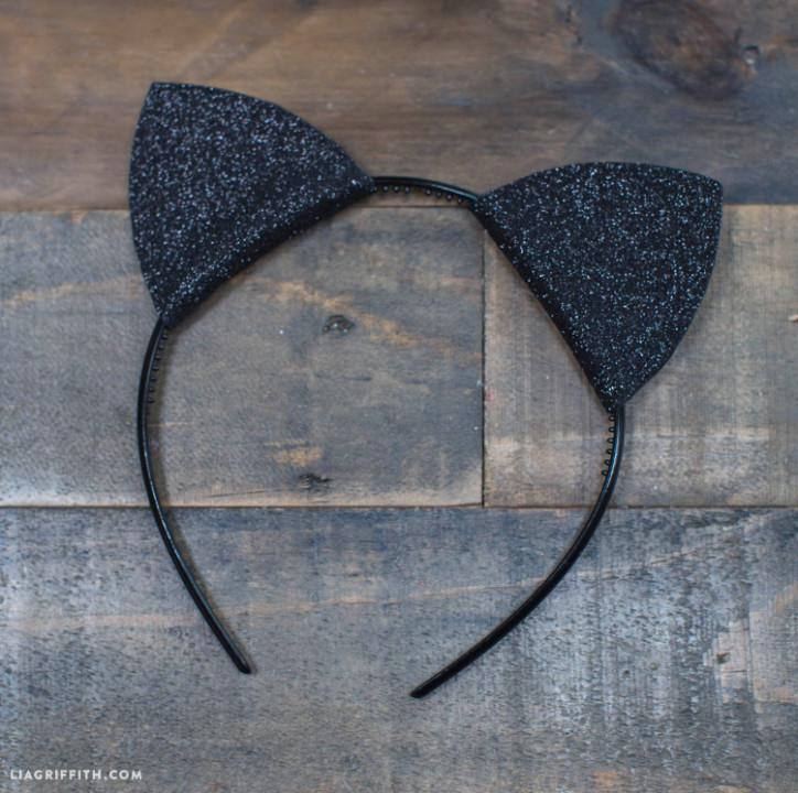 Sparkly black felt cat ears for Halloween
