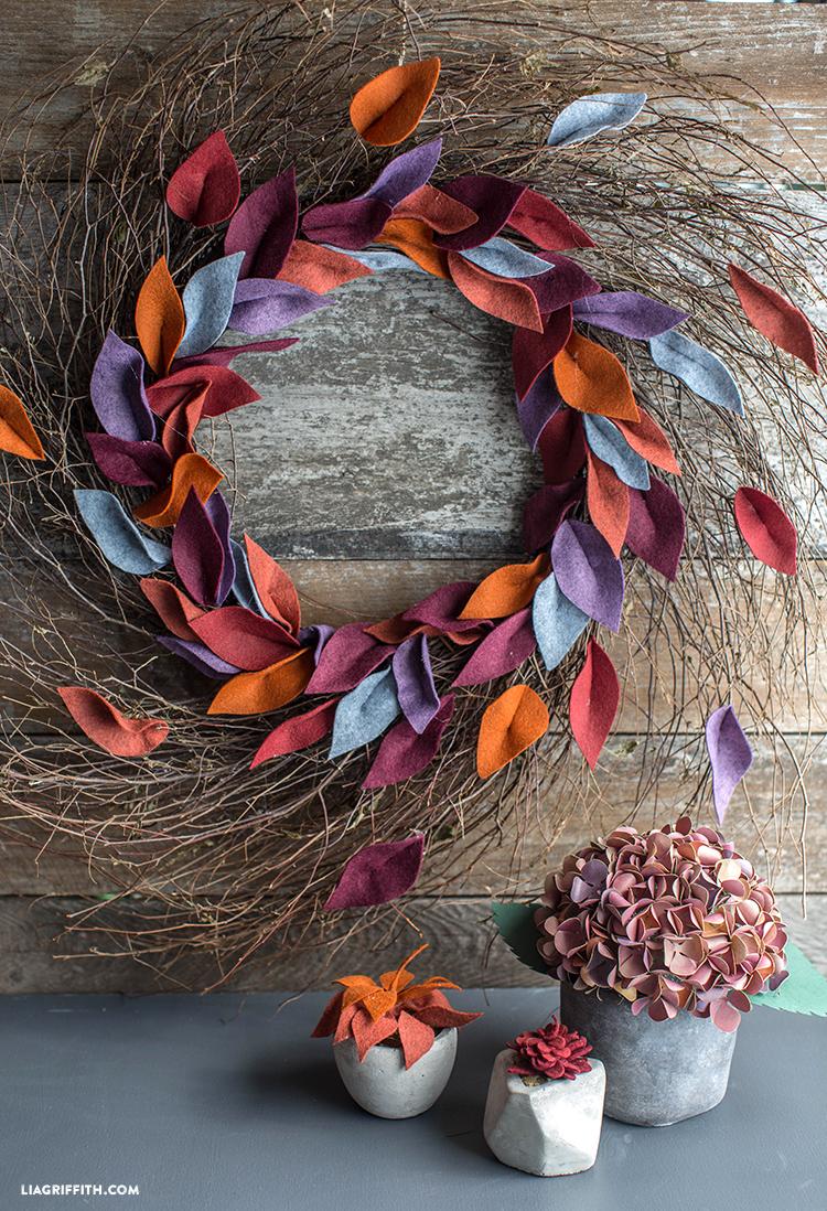 Felt Leaf Wreath For Fall Lia Griffith