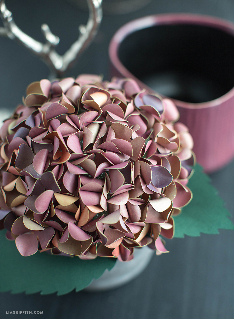 Pink and mauve antique paper hydrangea