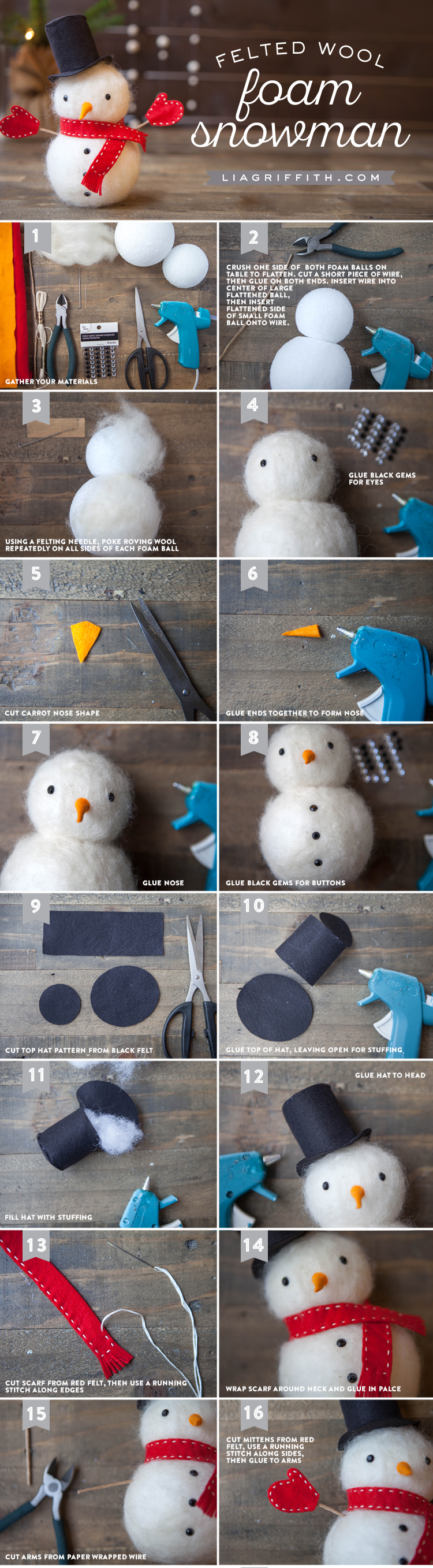 Snowman crafts - felted snowman tutorial