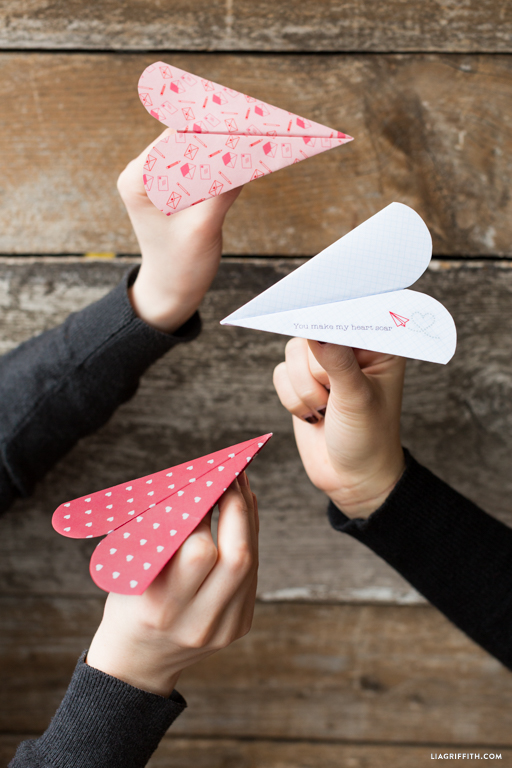 Printable Paper Airplane Hearts