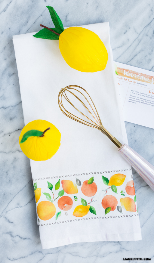 Winter Citrus Tea Towel
