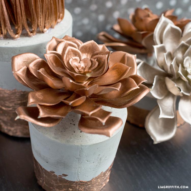 DIY concrete planters with copper foil