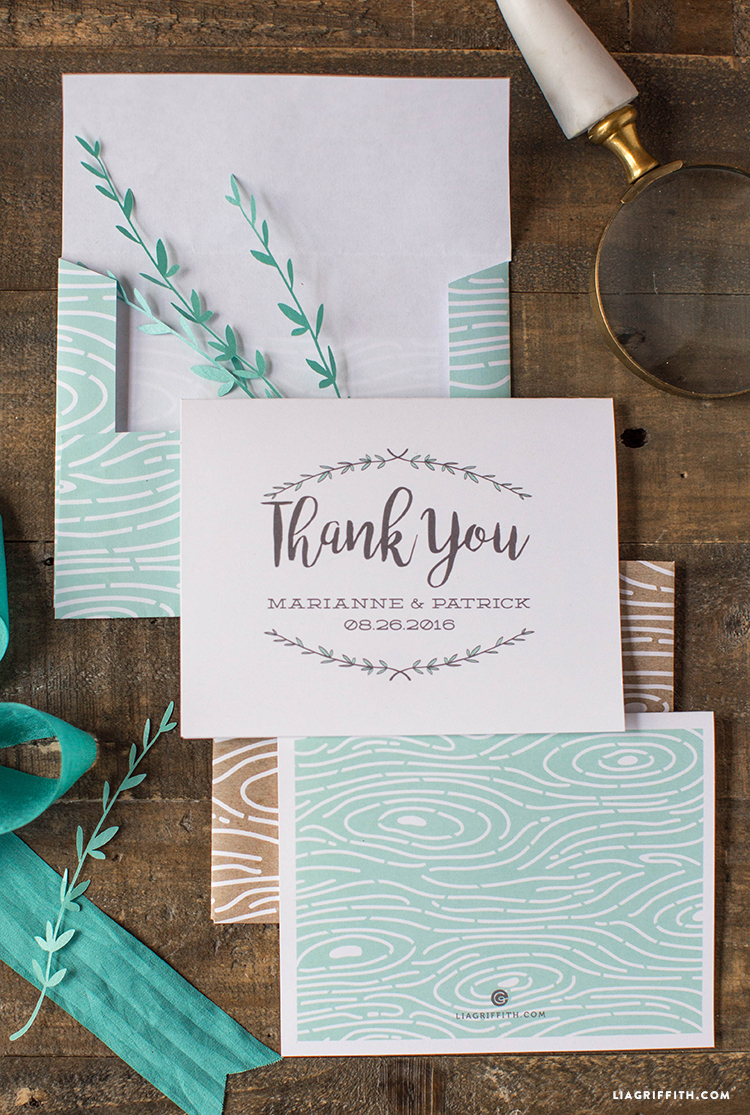 Woodgrain Thank You Cards