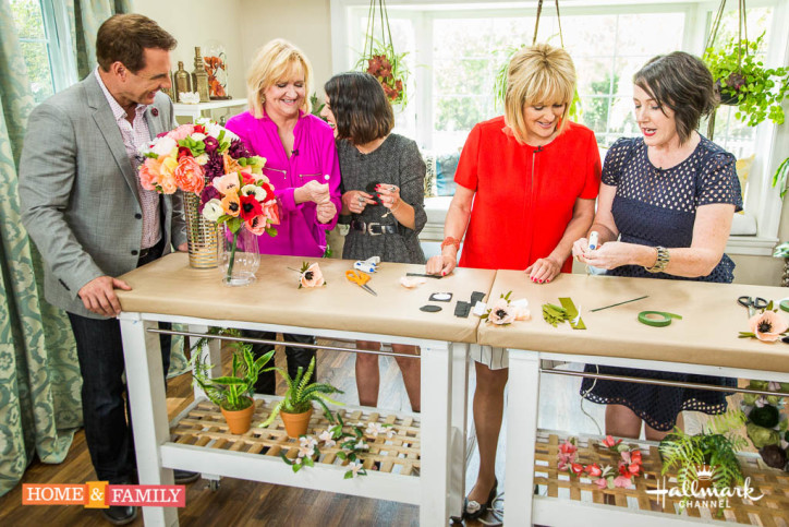 """Mark Steines and Cristina Ferrare welcome actress Shenae Grimes-Beech from the Hallmark Movies & Mysteries Original """"White Hot."""" The author of """"White Hot,"""" Sandra Brown, joins us. """"The Queen of Clean,"""" comedian Chonda Pierce visits our home. World Barbecue Champion Melissa Cookston cooks a smoked pepper turkey waffle sandwich. Stage hypnotist and motivational speaker Ricky Kalmon demonstrates how hypnosis can help you achieve your goals. Lifestyle expert Lia Griffith makes a beautiful DIY paper anemone flower arrangement. Learn how to make a fashionable DIY front tie shirt dress with Orly Shani. Debbie Matenopoulos is here with trendy summer sunglasses for a fraction of the price. Kym Douglas has alternative uses for beauty products in the kitchen. Save money with Sandie Newton from Hollywood Steals. Credit: Copyright 2016 Crown Media United States, LLC/Photographer: jeremy lee/Alexx Henry Studios, LLC"""