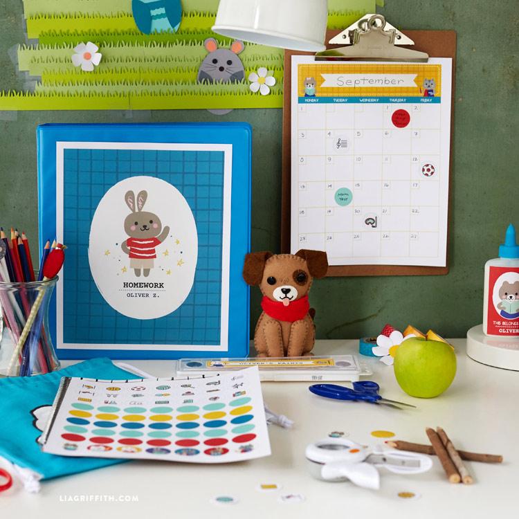 Kids bunny school supplies organization