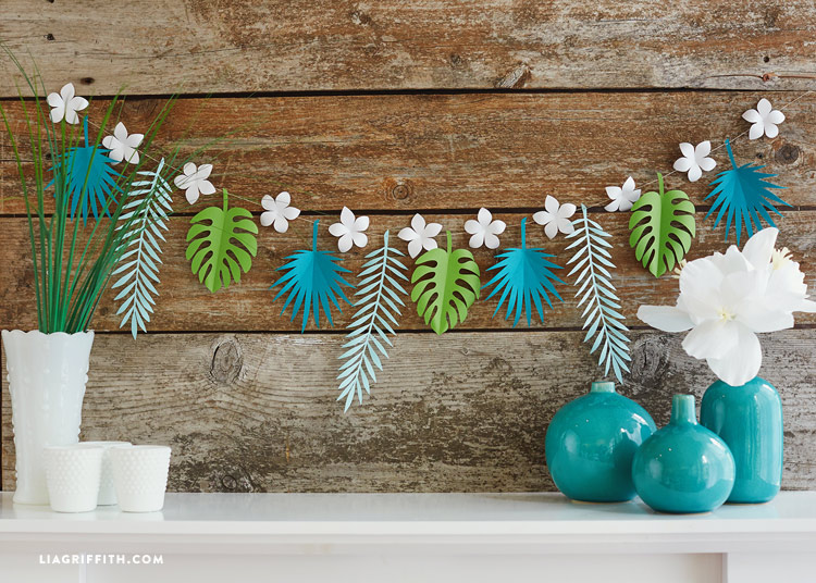 green blue white leaf garland paper