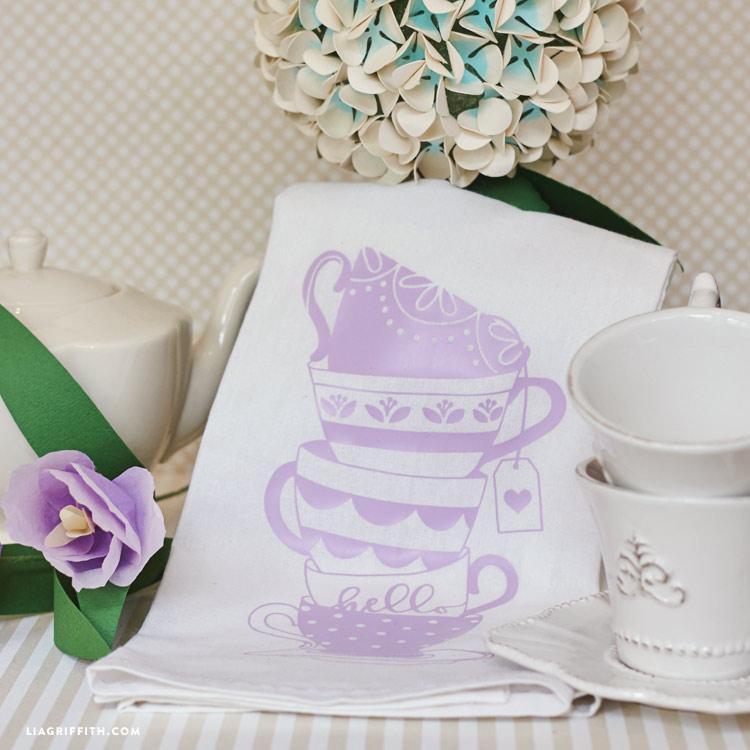 teacup decal for tea towell