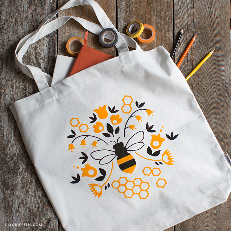 yellow bee tote decal