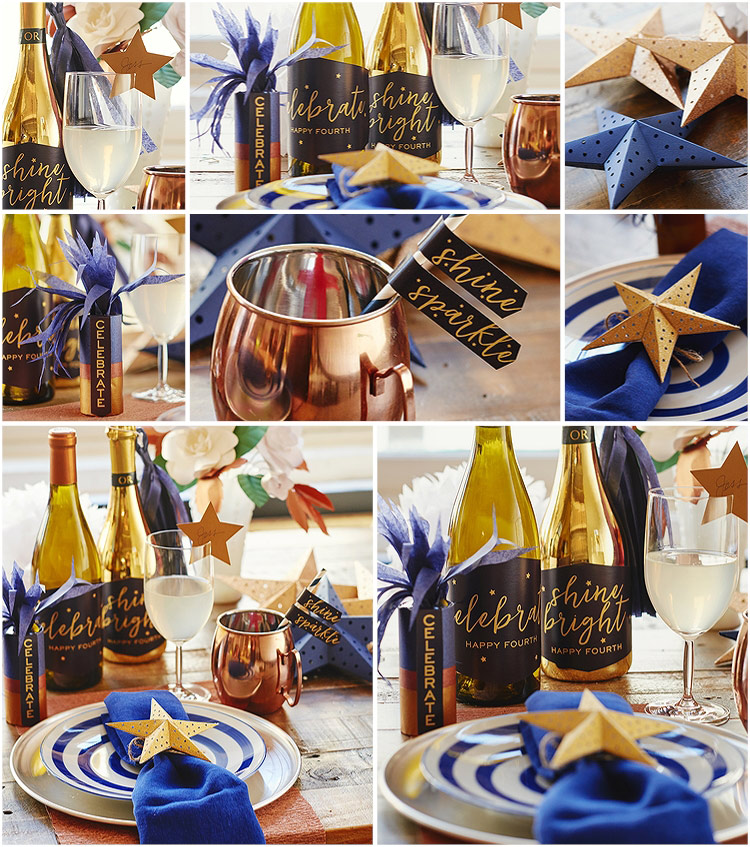 A photo collage of 4th of July table decor including wine bottle labels, paper straw flags, 3D paper stars, and tissue paper firecrackers
