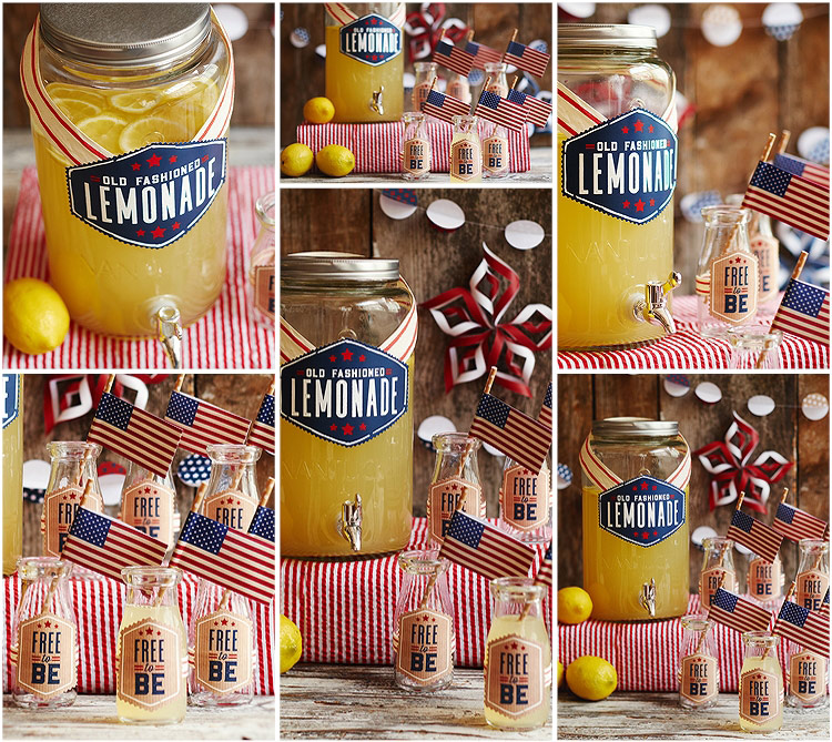 Old fashioned lemonade with glass bottles and vintage flag straws