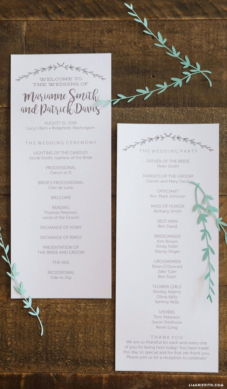 Herb and Woodgrain Wedding Programs - Lia Griffith