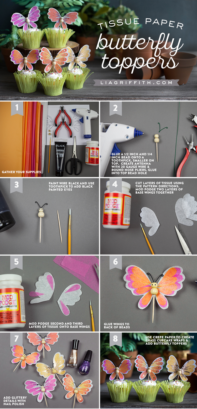 Butterfly Cupcake Toppers Tutorial