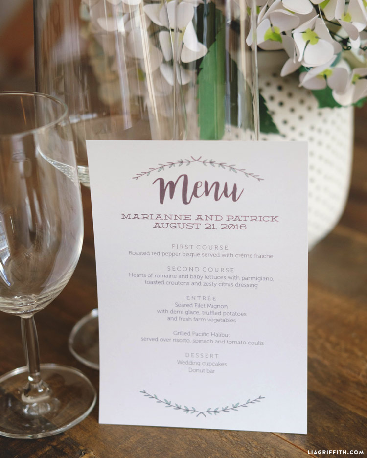 Herb and Woodgrain Wedding Menus