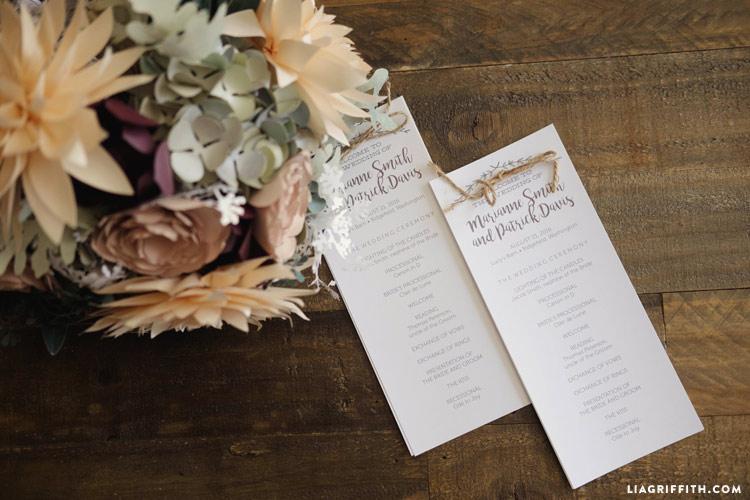 Woodgrain Wedding Programs