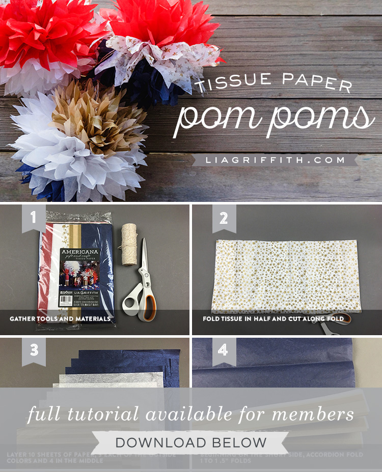 DIY step by step photo tutorial for tissue pom poms by Lia Griffith