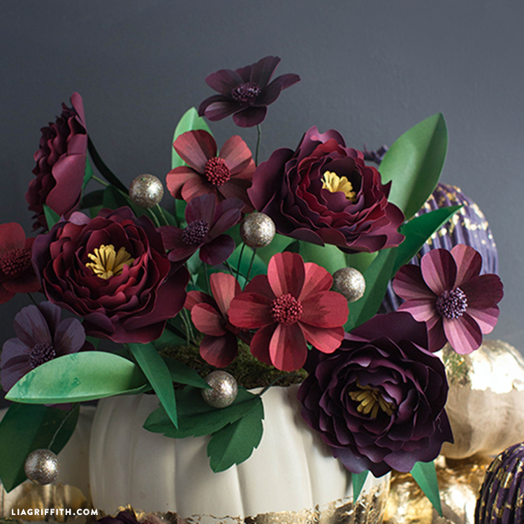 Red and purple fall paper flowers
