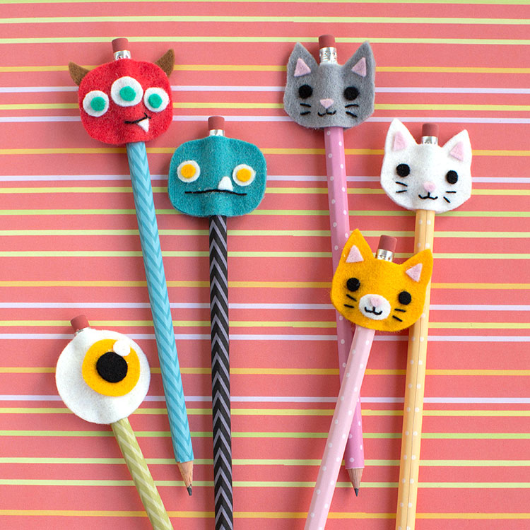 felt monster and cat faces for pencils