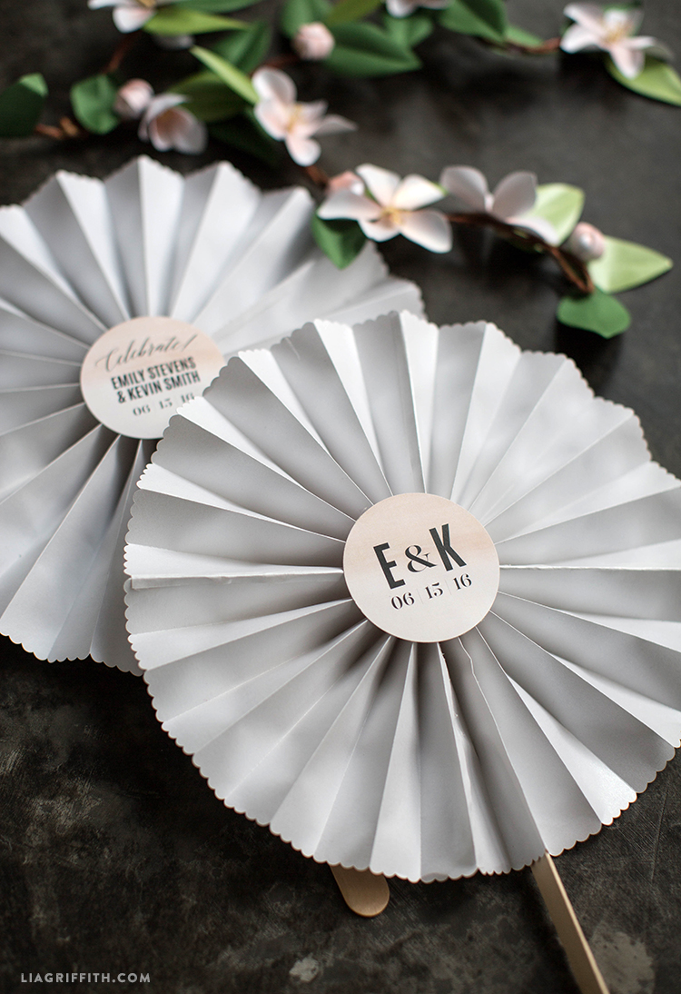 Blush Painted Wedding Fans
