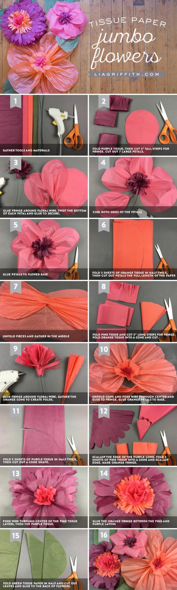 DIY Tissue Paper Jumbo Flowers