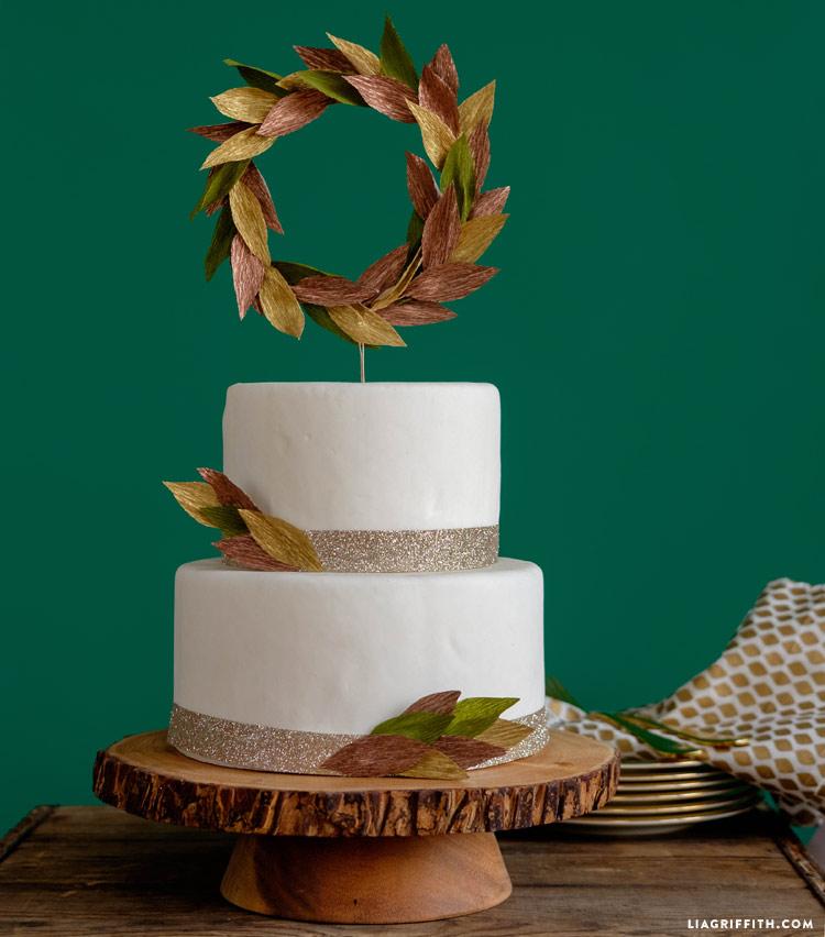 Crepe Paper Wedding Cake Topper
