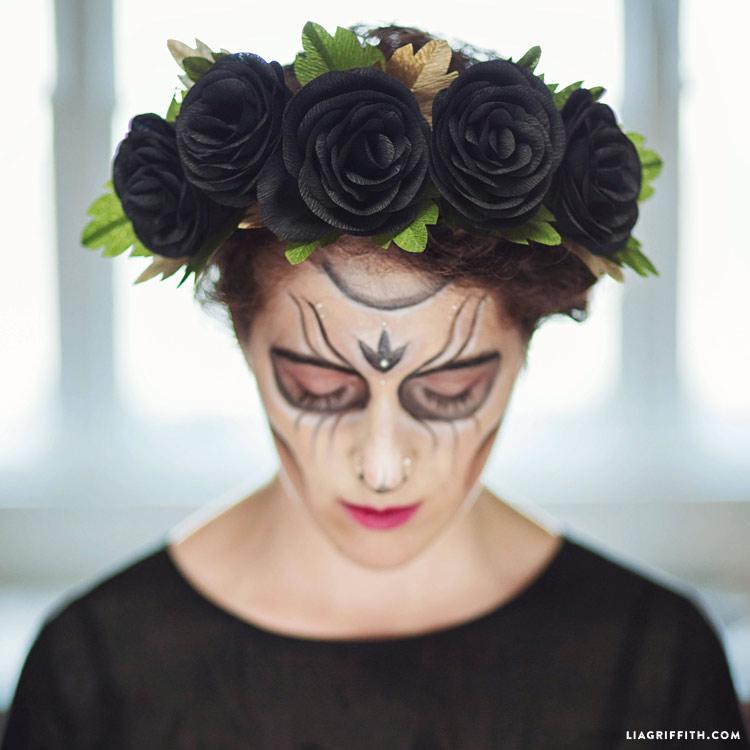 Black Rose Head Wreath