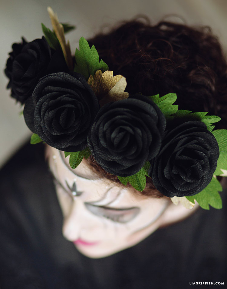 DIY skeleton costume with Black Rose Head Wreath