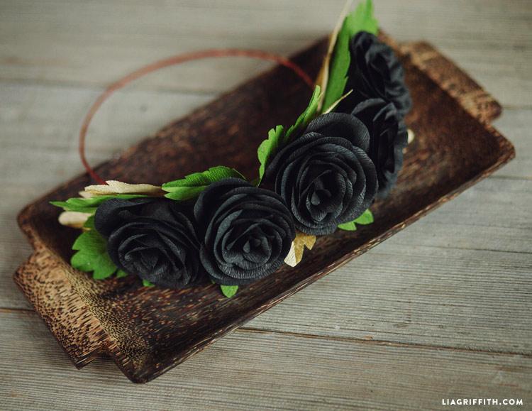 DIY Black Rose Head Wreath