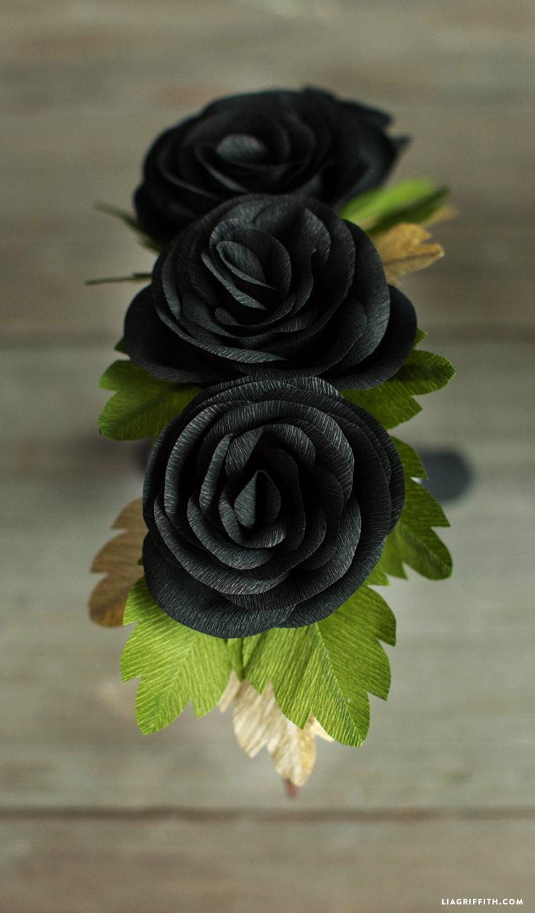 Black roses for DIY head wreath
