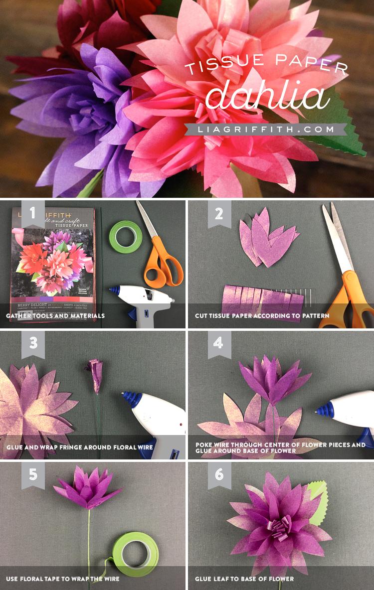 Tissue Paper Dahlias Tutorial