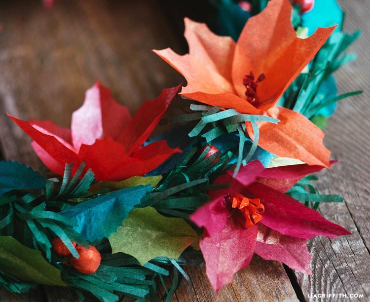 tissue paper Christmas wreath with poinsettias