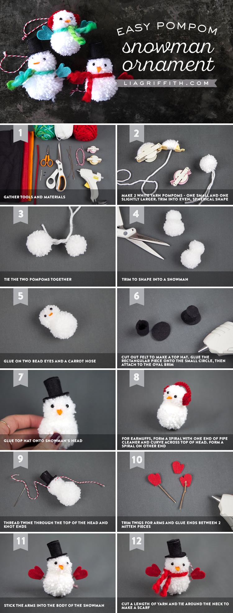 Pom Pom Snowman Ornaments Lia Griffith