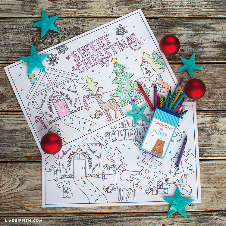 Kids' Christmas coloring placemats