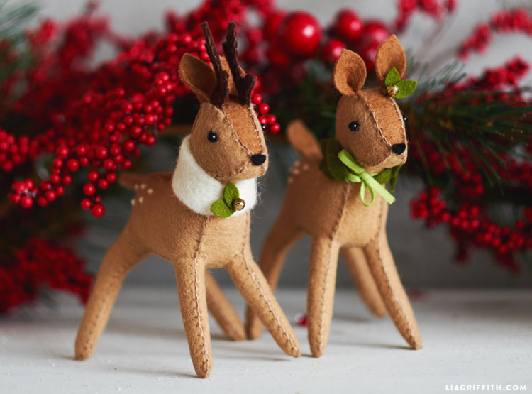 DIY Felt Reindeer with holly berries in background