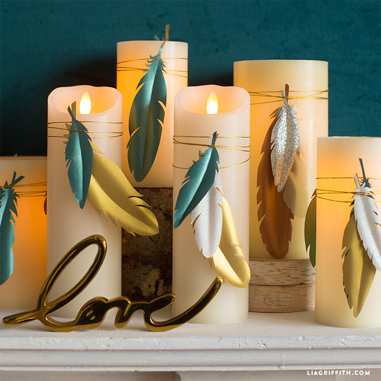 Paper Feather Candle Wraps