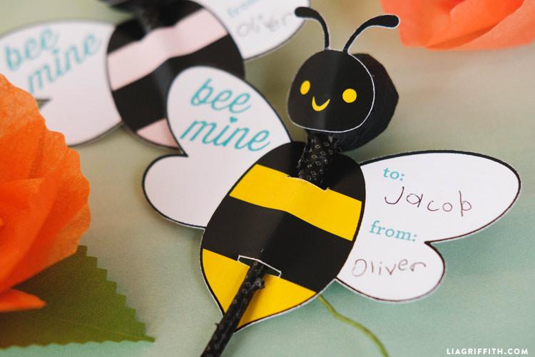 Printable Bumble Bee Valentines