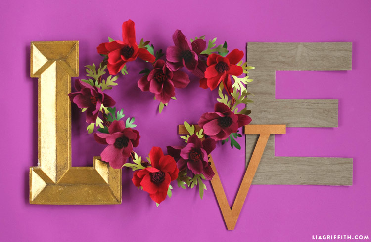 Paper Flower Heart Wreath