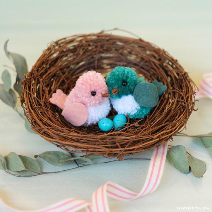 DIY lovebirds in a nest