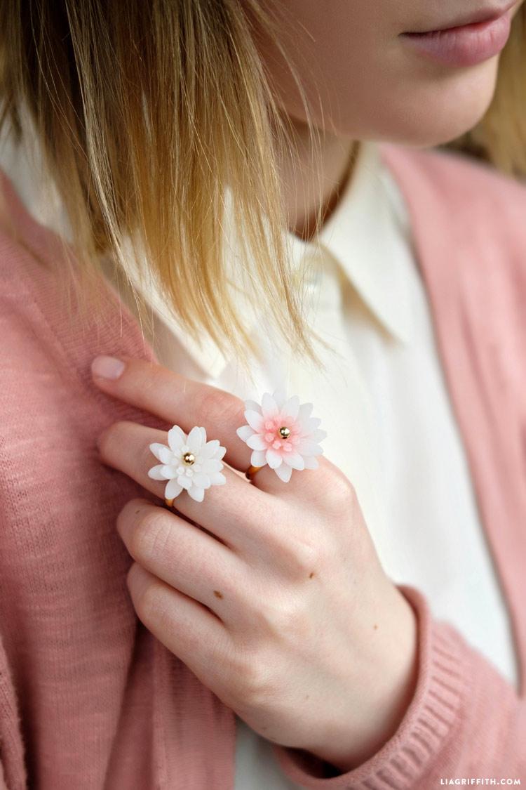 Girl wearing DIY Flower Blossom Rings