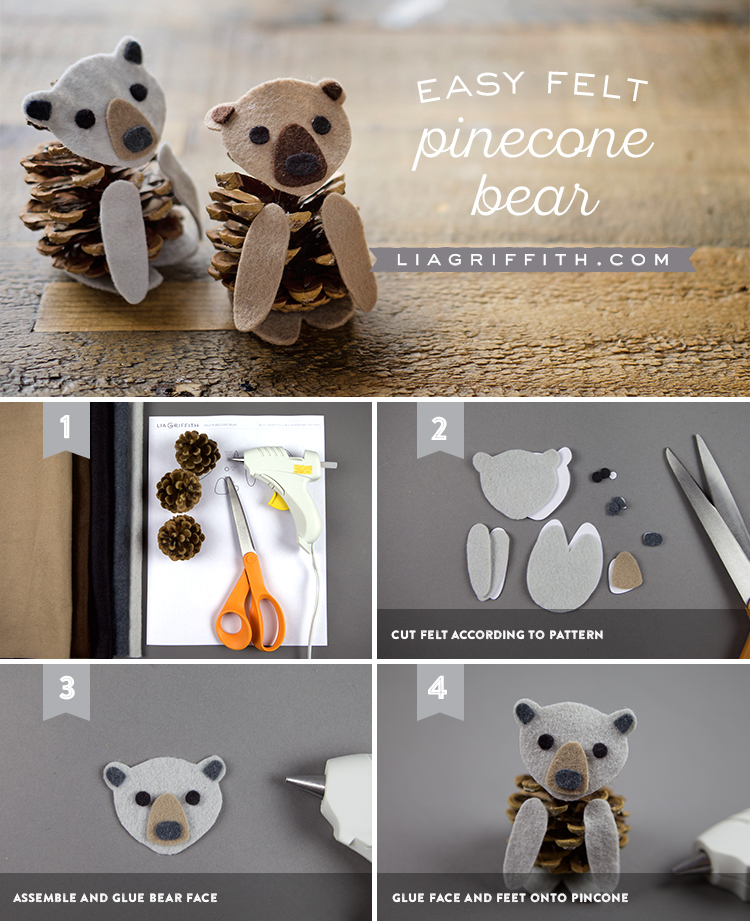 Felt Pinecone Bear Tutorial