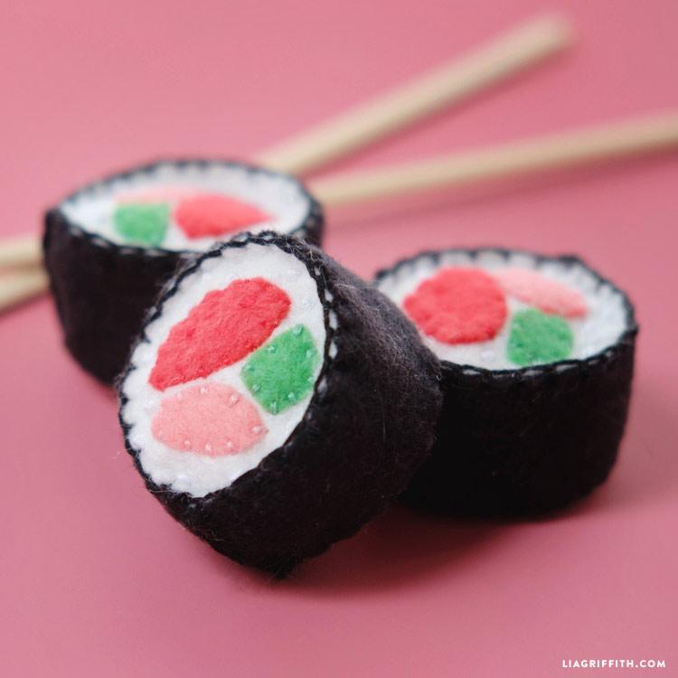 handmade sushi felt cat toy