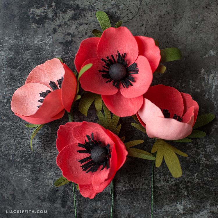 Crepe Paper Anemone Flowers