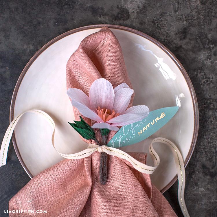 paper magnolia napkin rings