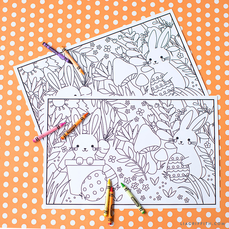 printable Easter coloring placemats