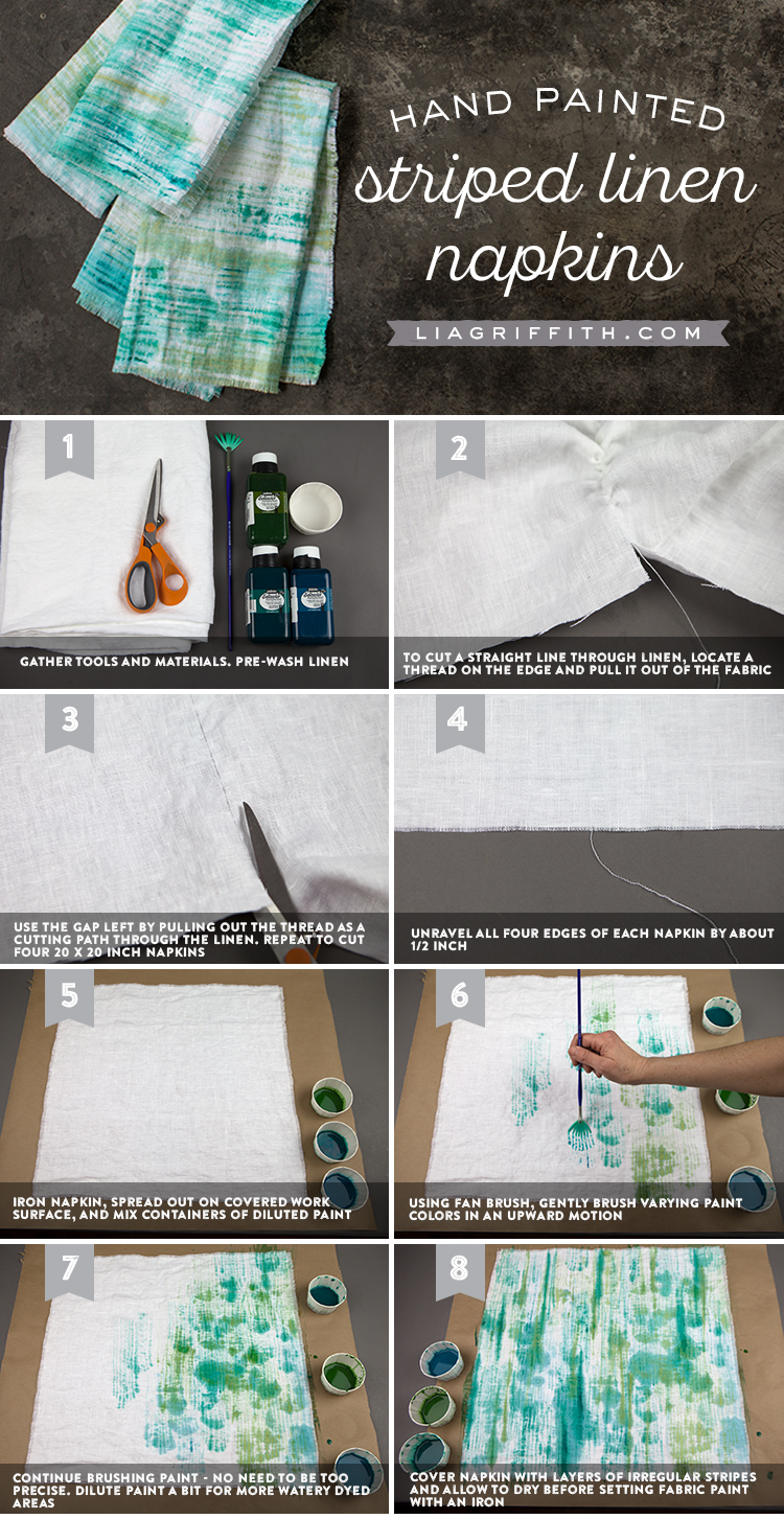 How To Make Diy Painted Linen Napkins