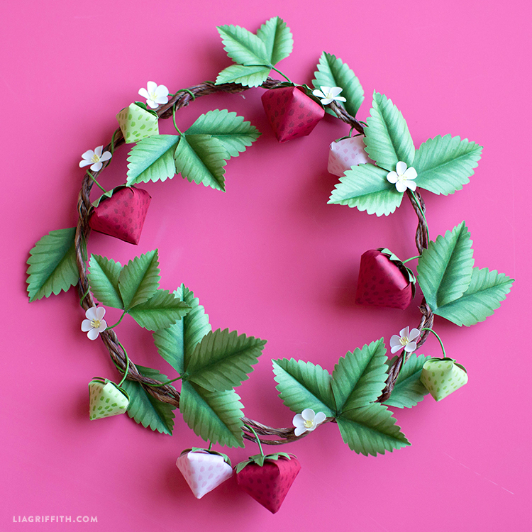 paper strawberry wreath