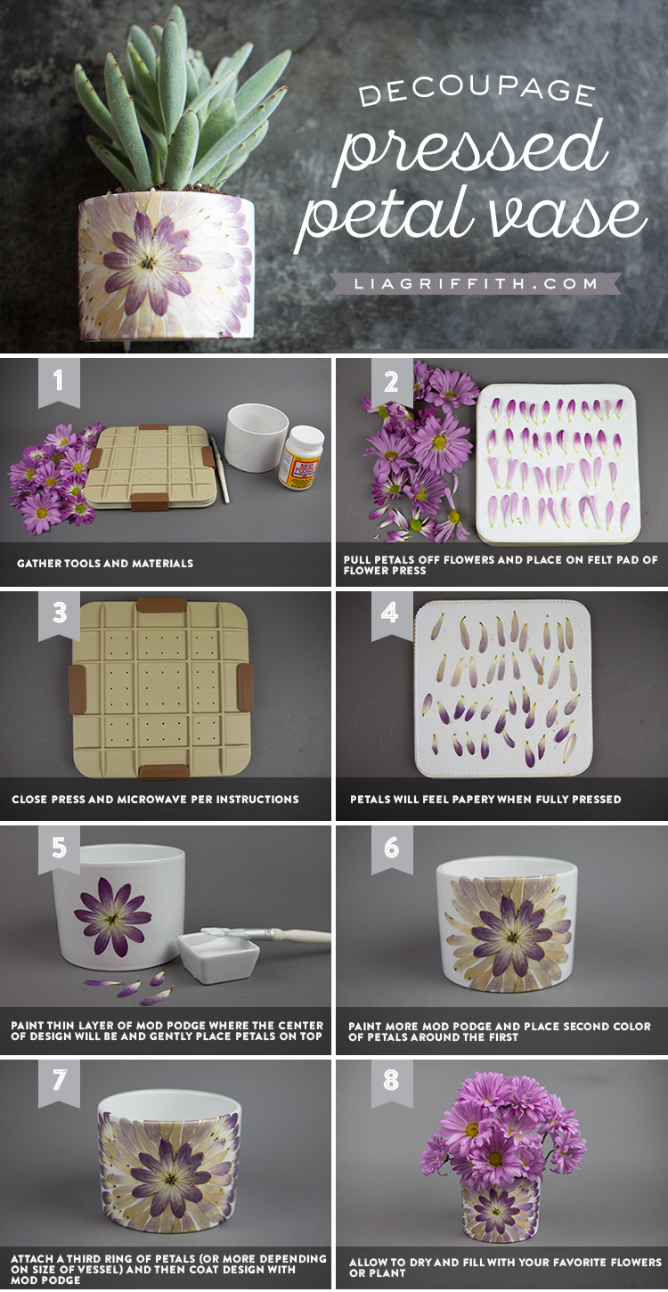 Decoupage Petal Vase